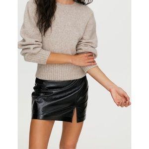 Aritzia Wilfred Tempest Black Vegan Patent Leather Mini Skirt 10